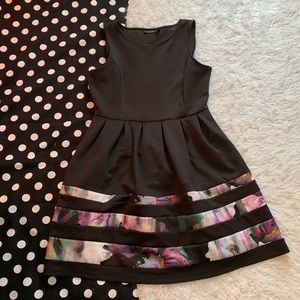 Apt 9 black and floral watercolor dress size large
